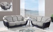 Global Furniture U6018-S+L+C Grey/Black Bonded Leather Sofa And Loveseat And Chair