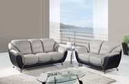 Global Furniture U6018-S+L Grey/Black Bonded Leather Sofa And Loveseat