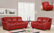 Global Furniture U8080-RED -S+L+C Red Sofa And Loveseat And Chair