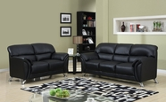 Global Furniture U9103-BL-S+L Black Vinyl Sofa And Loveseat