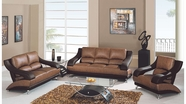 Global Furniture U982-T/BR-S+L+C Tan/Brown Bonded Leather Sofa And Loveseat And Chair