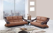Global Furniture U982-T/BR-S+L Tan/Brown Bonded Leather Sofa And Loveseat