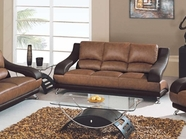 Global Furniture U982-T/BR-S Tan/Brown Bonded Leather Sofa