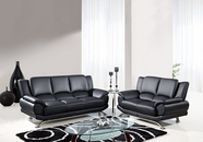 Global U9908-Bl-S+L Black Bonded Leather Sofa And Loveseat