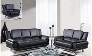 Global U9908-Bl-S+L+C Black Bonded Leather Sofa And Loveseat And Chair