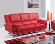 Global Furniture U9908-RED-S Bonded Leather Sofa