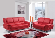 Global Furniture U9908-RED-S+L Bonded Leather Sofa And Loveseat
