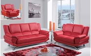 Global U9908-Red-S+L+C Bonded Leather Sofa And Loveseat And Chair