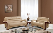 Global U992-Capp-S+L Cappuccino Bonded Leather Sofa And Loveseat