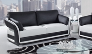 Global Furniture UA189-WH/BL-S Bonded Leather Sofa