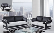 Global Furniture UA189-WH/BL-S+L+C Bonded Leather Sofa And Loveseat And Chair
