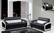 Global Furniture UA199-BL/WH-S+L+C Bonded Leather Sofa And Loveseat And Chair