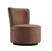 Home Elegance 102S511W ROUND BROWN MICROFIBER SWIVEL ACCENT CHAIR