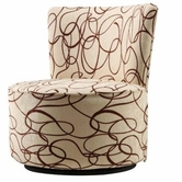Home Elegance 102S703W ROUND BROWN SCROLL PRINTED FABRIC SWIVEL ACCENT CHAIR
