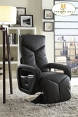 Home Elegance Diem 8549BLK-1 Swivel Reclining Chair, Black Bonded Leather Match PVC