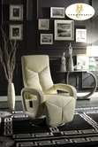 Home Elegance Diem 8549TPE-1 Swivel Reclining Chair, Taupe Bonded Leather Match PVC