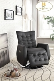 Home Elegance Nadra 8544BLK-1PW Swivel Power-Reclining Chair, Black P/U
