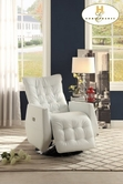 Home Elegance Nadra 8544WHT-1PW Swivel Power-Reclining Chair, White P/U
