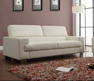 Home Elegance Vernon 9603WHT-3 SOFA, WHT ALL BND LTHR