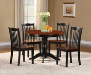 Homelegance 2458 5PC DINETTE, PEDESTAL, TWO-TONE OAK/BLK