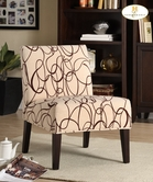 Homelegance 468F3S(3A) Lounger Chair In Fabric (Brown Scroll)