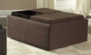 Homelegance 468MC(3A) Cocktail Ottoman Mocha Microfiber