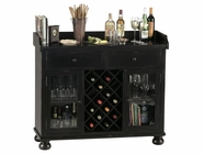 Howard Miller 695002 CABERNET HILLS Worn Black (Brown Underto Collectors Cabinet-Wine/Spirit