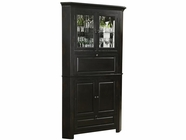 Howard Miller 695082 CORNERSTONE ESTATES CORNER Worn Black (Brown Underto Collectors Cabinet) -Wine/Spirit