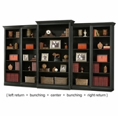 Howard-Miller 920012-14-16-17 Oxford Black Wall Bookcase Set
