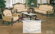 J. Horn 2084-S+L+C sofa + loveseat + chair in 222 Khaki leather with Walnut finish wood frame