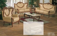 J. Horn 2118-S+L+C Sofa + Loveseat + Chair In 1215 Ivory Finish Or 222 Khaki Finish Leather With Mahogany Or Glossy Walnut Finish Wood Frame