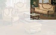 J. Horn 2118-S Sofa in 1215 Ivory Finish Or 222 Khaki Finish Leather with Mahogany or Glossy Walnut Finish Wood Frame