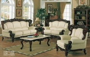 J. Horn 2189-S+L+C Sofa + Loveseat + Chair In 1215 Ivory Finish Or Brown Finish Leather With Mahogany Finish Wood Frame