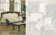 J. Horn 2189-S Sofa in 1215 Ivory Finish Or Brown Finish Leather with Mahogany Finish Wood Frame