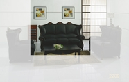 J. Horn 2209-S Sofa in 222 Khaki Finish Or Black Finish Leather with Walnut with semi-gloss finish Finish Wood Frame