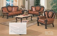 J. Horn 701-S+L+C sofa + loveseat + chair in 1215 Ivory Finish Or 323 Brown Finish leather with Mahogany finish wood frame