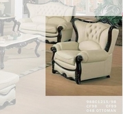 J. Horn 988-C chair in 1215 Ivory Finish Or Burgundy Finish Leather with Mahogany Finish Wood Frame