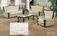 J. Horn 988-S+L+C sofa + loveseat + chair in 1215 Ivory Finish Or Burgundy Finish leather with Mahogany finish wood frame