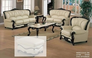 J. Horn 989-S+L+C Sofa + Loveseat + Chair In 1215 Ivory Finish Or 9826 Light Brown Finish Leather With Mahogany Finish Wood Frame