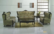 J. Horn 991-S+L+C sofa + loveseat + chair in Paisley FABRIC with Mahogany finish wood frame