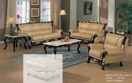 J. Horn 992-S+L+C Sofa + Loveseat + Chair In 222 Khaki Leather With Mahogany Or Gold Leaf Trim Finish Wood Frame