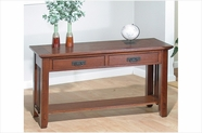 Jofran 036-4 Viejo Brown Mission Oak Finish Sofa Table With 2 Drawers And Shelf