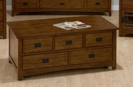 Jofran 037-5 MISSION HILL OAK FINISH RECTANGLE COCKTAIL TABLE with 5 PULL-THRU DRAWERS AND CASTERS