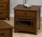 Jofran 037-6 MISSION HILL OAK FINISH SQUARE END TABLE with DRAWER AND DOOR