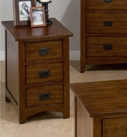 Jofran 037-7 MISSION HILL OAK FINISH CHAIRSIDE TABLE with 3 DRAWERS