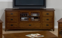 Jofran 037-9 MISSION HILL OAK FINISH MEDIA UNIT with 7 DRAWERS AND 2 DOORS