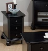 Jofran 038-7 BILLINGS BLACK FINISH CHAIRSIDE TABLE with 3 DRAWERS
