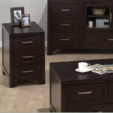 Jofran 046-7 VIENNA ESPRESSO FINISH CHAIRSIDE TABLE with 3 DRAWERS (ASSEMBLED)