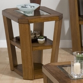 Jofran 053-7 ERNIE'S ELM FINISH CHAIRSIDE TABLE with 2 SHELVES - GLASS TOP
