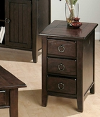 Jofran 081-7 HEIRLOOM OAK FINISH CHAIRSIDE TABLE with 3 DRAWERS